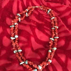 Necklace coral and turquoise